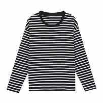 长袖黑白条纹打底衫T恤