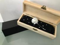 韩式流行针织平头领带 胸针 套装 带木质礼盒