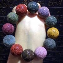 美货来袭天然阿拉善玛瑙 彩玉 手工雕刻, 精品回纹珠