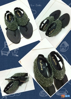 全新欧美范儿夹脚中跟凉鞋便宜出售!