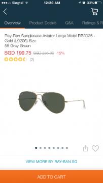 转让雷朋太阳眼镜9.9新!(baywatch 中rock 同款同颜色)