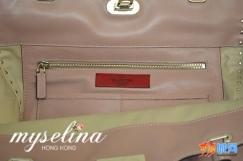 小辣椒同款正品Valentino裸粉鉚钉手提單肩挎两用包全新转让