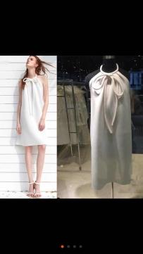全新白色挂脖蝴蝶结连衣裙