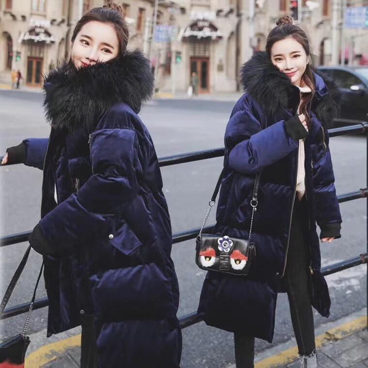 韩版中长款连帽大毛领金丝绒羽绒棉衣