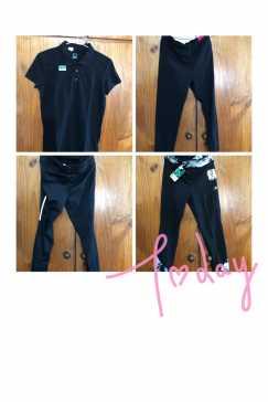 多件全新运动型贴身弹性黑色长裤、多件全新S号黑色有领T恤,便宜出