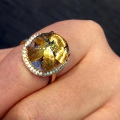 天然钛晶花戒指