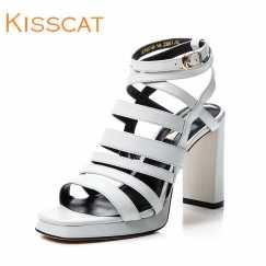 KISS CAT/接吻猫新款罗马凉鞋粗跟高跟女凉鞋DA76303-80