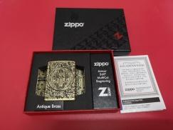 Zippo打火机-360度雕刻复古防弹铜材质