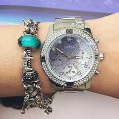 全新正品GUESS手表银色$150 不刀