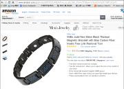 男士黑钛磁手链蓝色碳纤维