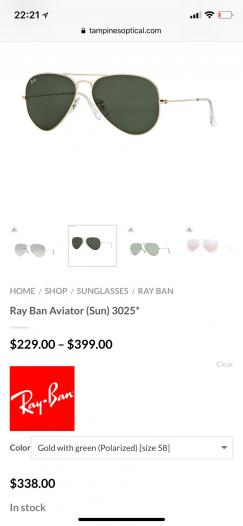 全新雷朋眼镜3025