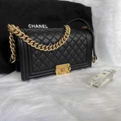 Chanel leboy黑金小羊皮 97新