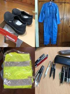 最近多雨,全新雨衣套装、40号安全鞋、工作装、派克笔,