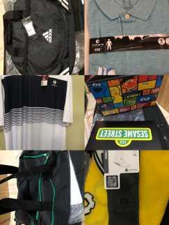Adidas 背包、电脑包、Skechers 40号鞋子、旅行包、大号T恤、运动袜、玻璃饭盒、