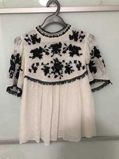 真丝刺绣上衣 (Zara)