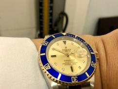 收藏的劳力士submariner date 16613 半金带钻手表转让