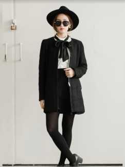 降价!2件$25!短大衣$15,长$25出Megagamie 黑色拉链厚外套,两侧有口袋!